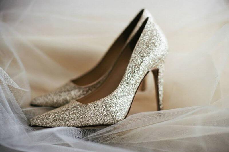 Jen's golden glitter Kate Spade heels.