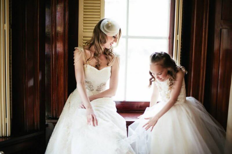 Jen and Chloe, her flower girl, ready to walk down the aisle.