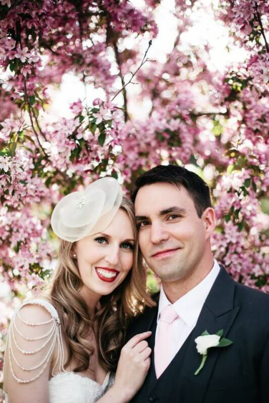 Jen and Joel under the flowering cherry tree