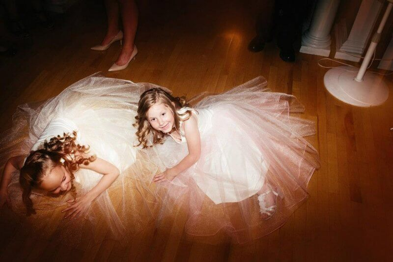 Flower girls wiped out from the dance party.