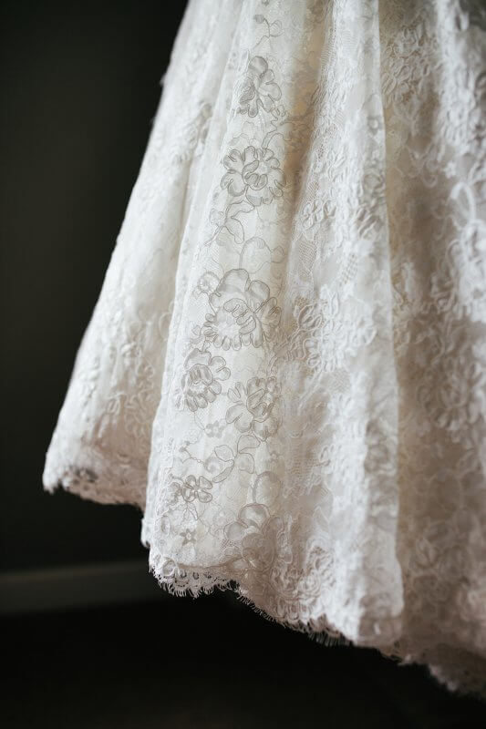 Detail of the hem of Jen's french lace skirt.