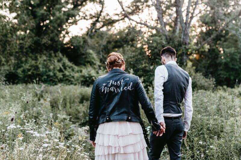 Karly wearing the Just Married Jacket (#thejustmarriedjacket) by Via Calligraphy.