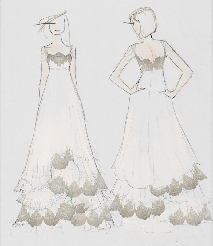 Sketch concept used for Kim's gown.