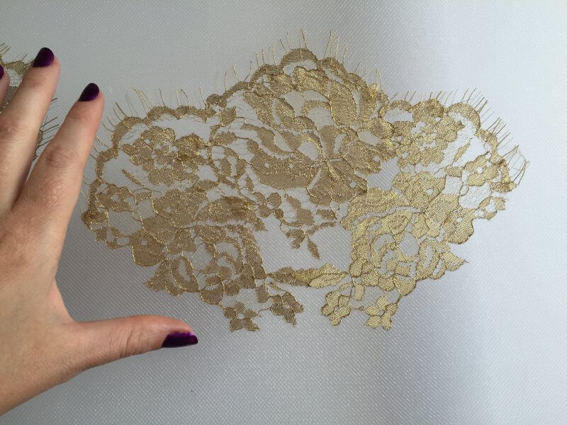 Kim's lace applique stitched in place for beading.