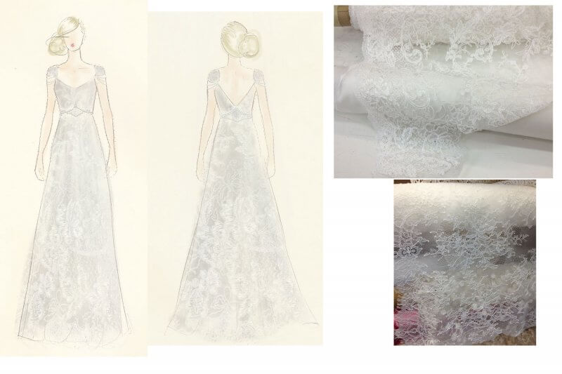 Sketch concept used for Jen's gown.