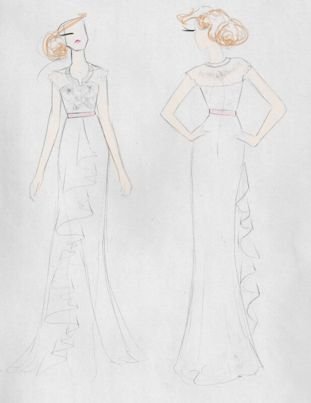 Sketch concept for Karly's dress.