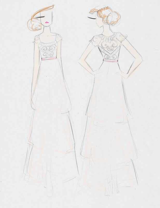 Sketch concept for Karly's gown.