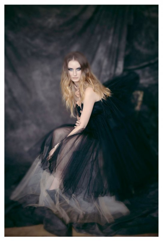 Photo by Peter Hart, leather harness by Uncuffed Leather, tulle gowns by Breeyn McCarney