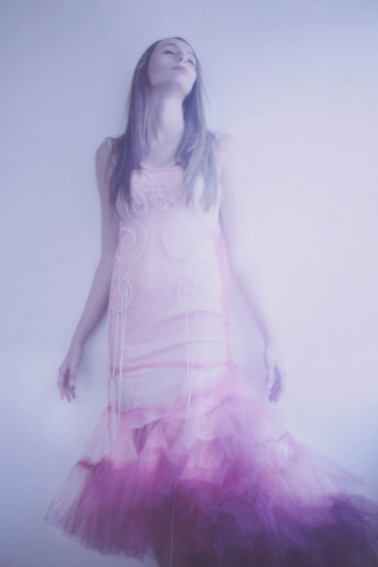 Photo by Natalie Kucken, hand-beaded tulle gown by Breeyn McCarney, tulle hand-dyed by Irena Komadinic