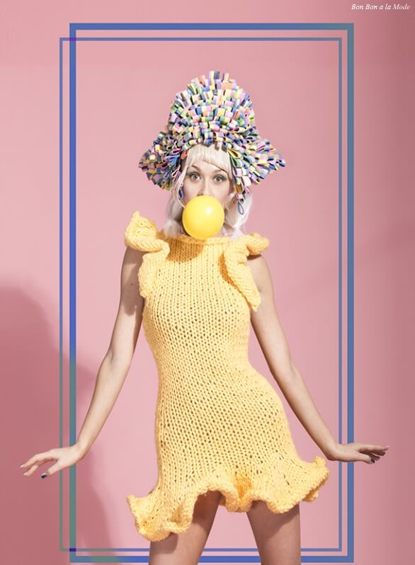 Photo by Trio Studio, sour-candy head-piece by Yumika Itou, knit dress by Breeyn McCarney