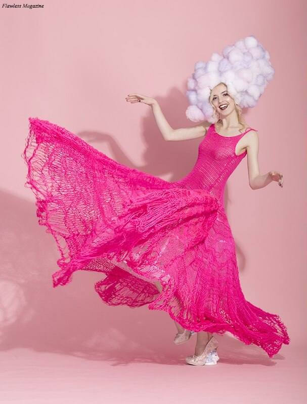 Photo by Trio Studio, candy floss head-piece by Yumika Itou, hand-knit gown and cage skirt by Breeyn McCarney