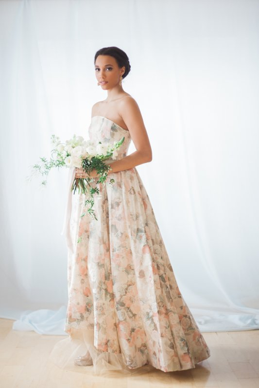 Photo by Gemini Photography, floral brocade gown by Breeyn McCarney