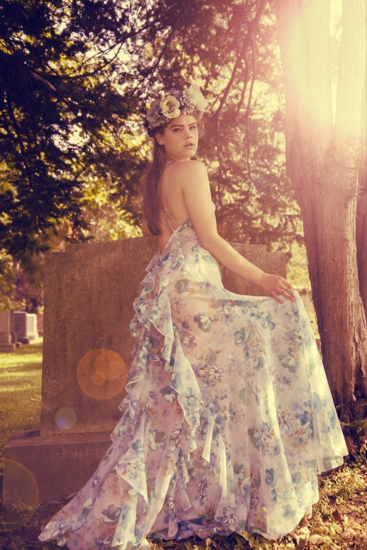 Photo by Olga Kozitska, flower crown by Lady Hayes, floral gown by Breeyn McCarney