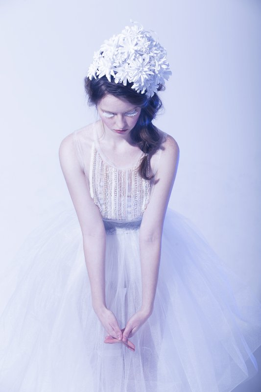 Photo by Mouna Tahar, paper head-piece by Arisa Yamasaki, beaded dress by Breeyn McCarney