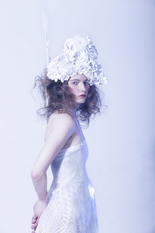 Photo by Mouna Tahar, paper head-piece by Arisa Yamasaki, sequin dress by Breeyn McCarney