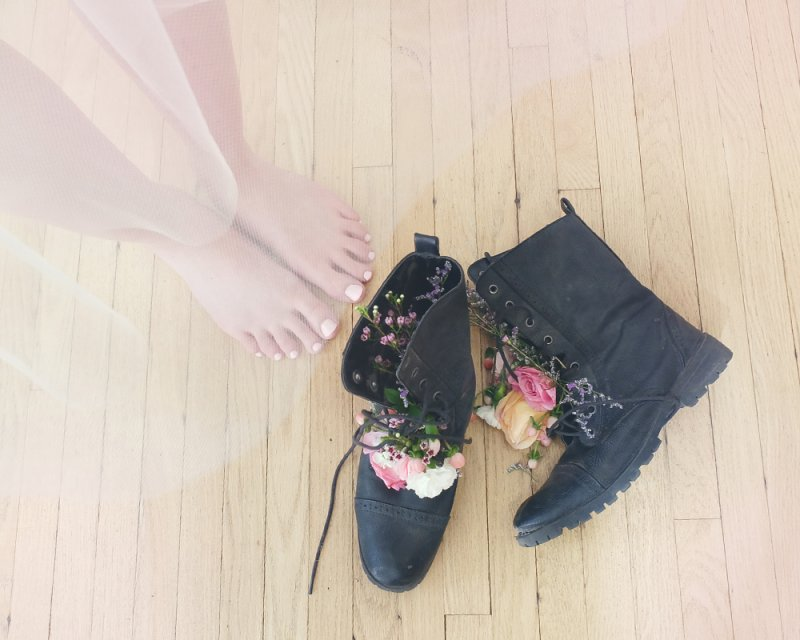 Photo by Lady Hayes, floral boots by Studio Bicyclette