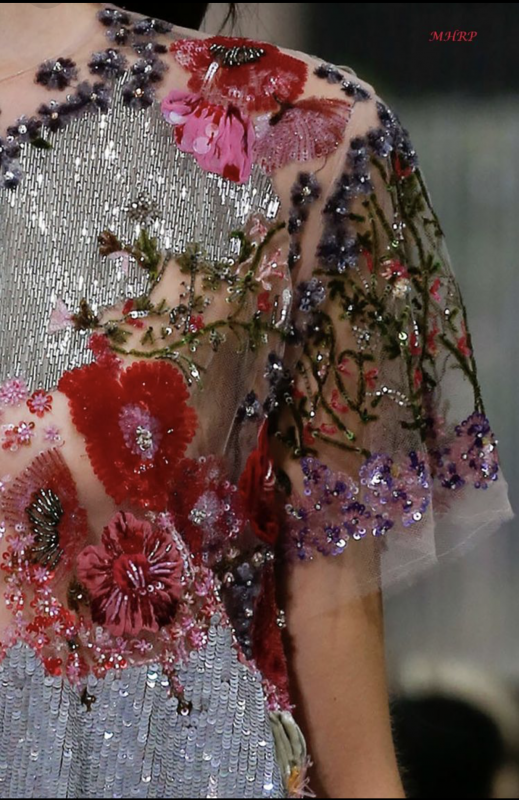 Floral sequin embellishment on gown