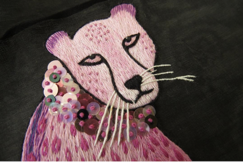 Pink panther embroidered with sequins