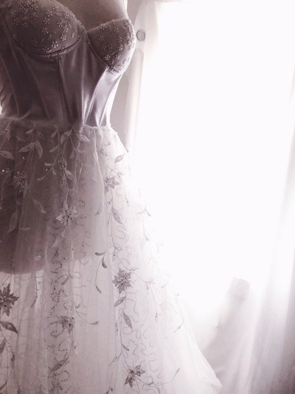 Under bodice of gown and light layers of lace and tulle