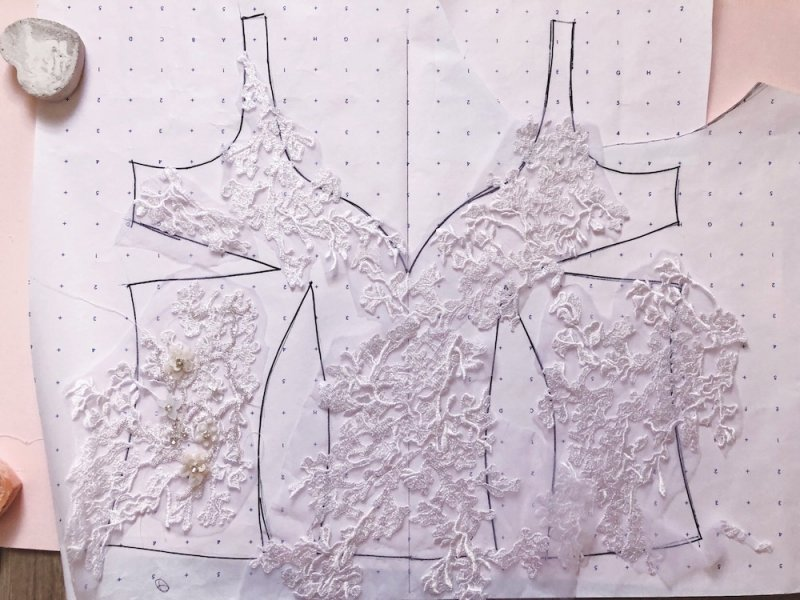 Lace appliques laid out on flat bodice pattern