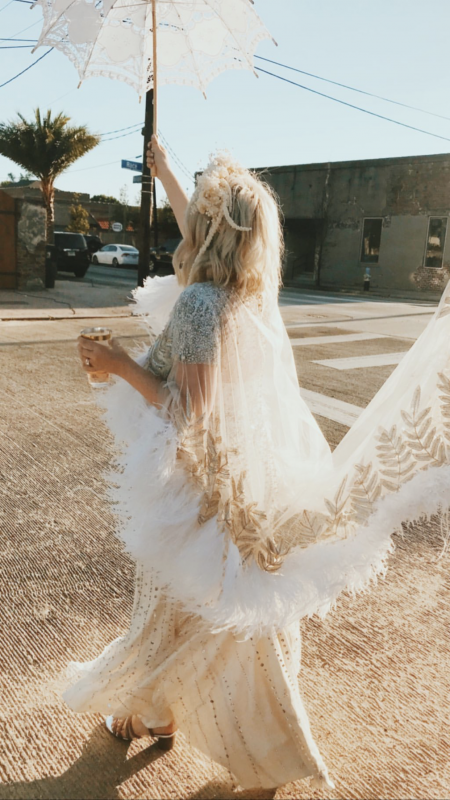 Bri Emery of Design Love Fest in her wedding outfit. Photo by Jesse Chamberline Marble