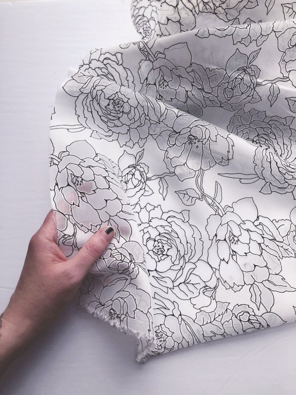 Rose print burnout fabric